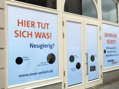 Schaufensterbeschriftung ESWE Fahrzeugbeschriftung-Wiesbaden